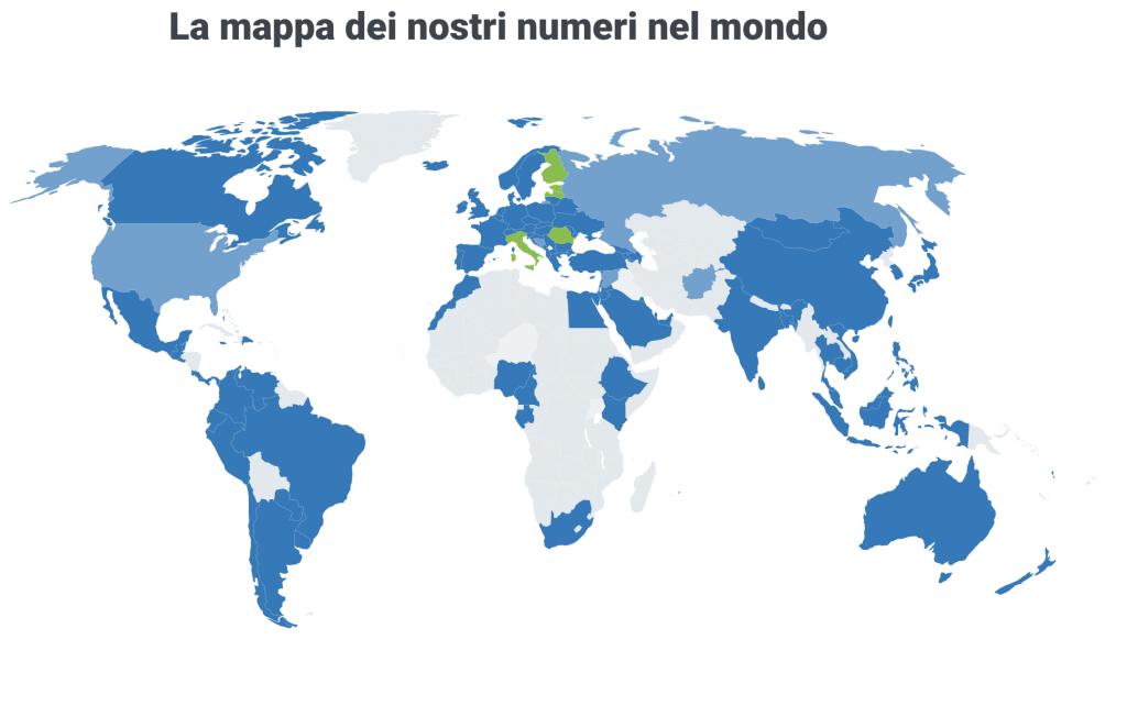 la mappa dei nostri numberi nel mondo