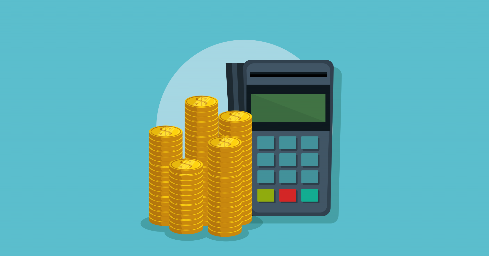 Coins and calculator illustration